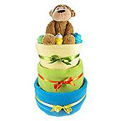 Bright 3 Tier Baby Boy Nappy Cake