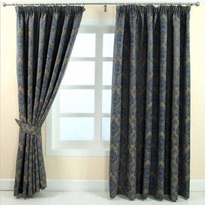Homescapes Blue Jacquard Curtain Traditional Damask Design Fully Lined - 90