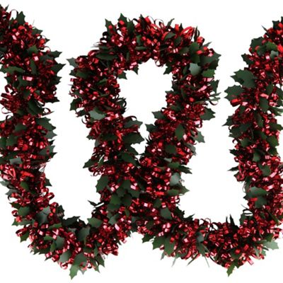 Pre-lit 2m Holly & Red Tinsel Christmas Light Garland with Red LEDs