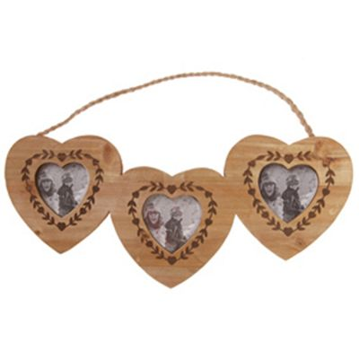 Solid Wood Triple Hanging Photo Frame - Natural