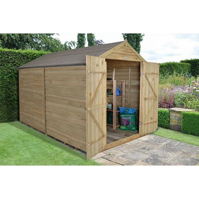 Forest Garden 10x8 Overlap Pressure Treated Double Door Apex Shed No Windows