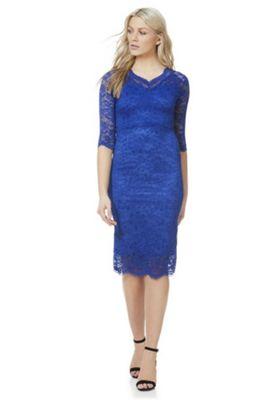 Feverfish Lace Scallop V-Neck Dress Cobalt Blue 12