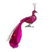 Mini Clip On Pink Peacock Christmas Decoration