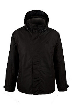 Fell 3 in 1 Mens Showerproof Jacket Coat + Detatchable Inner Fleece - Black