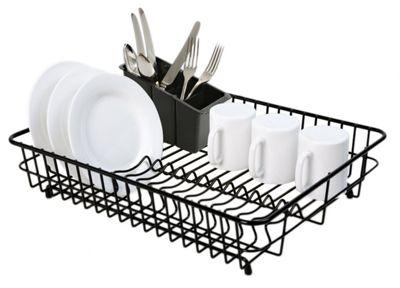 Delfinware Plastic Coated Large Rectangular Dish Sink Drainer with Cutlery Basket in Black