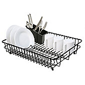 Delfinware Plastic Coated Large Rectangular Dish Sink Drainer with Cutlery Basket in Black