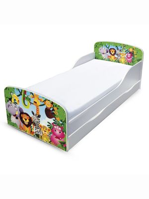 PriceRightHome Jungle Toddler Bed with Underbed Storage & Foam Mattress