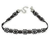 Black Lace Choker Necklace - 30cm L/ 6cm Ext