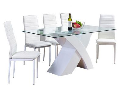 Milano White X High Gloss Dining Table And Six Montero Chairs