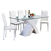 Milano White X High Gloss Dining Table And Six White Montero Chairs