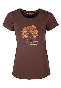 Autumn Tree Women's Cotton Tee-Shirt - Brown