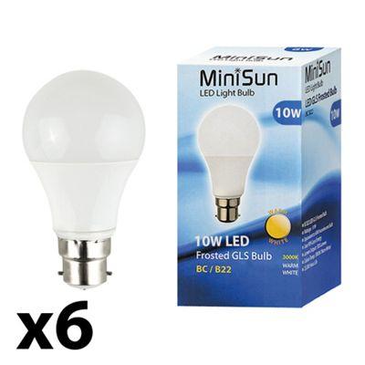 Pack of 6 Minisun BC B22 10W LED SMD GLS Bulbs in Warm White