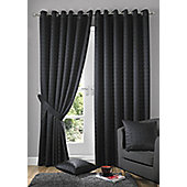 Alan Symonds Madison Black Eyelet Curtains - 66x90 Inches (168x229cm)