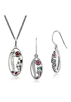 Gemondo Sterling Silver Marcasite Rennie Mackintosh Style Drop Earring & 45cm Necklace Set