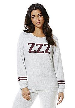 F&F Lightweight Knit Varsity Lounge Sweatshirt - Grey