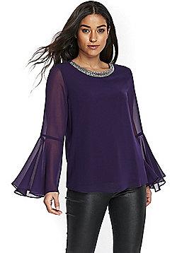 Wallis Embellished Neck Bell Sleeve Top - Purple