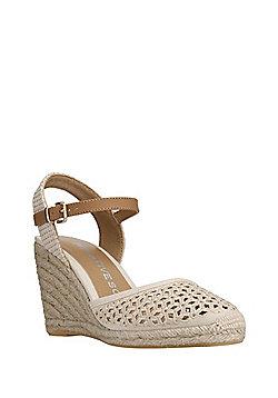 F&F Sensitive Sole Crochet Espadrille Wedge Sandals - Cream