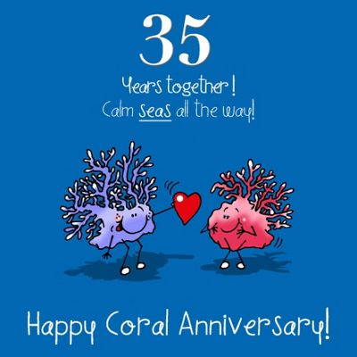 buy 35th wedding anniversary greetings card coral anniversary from
