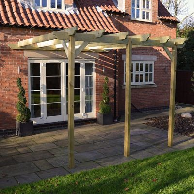 Lean to Garden Pergola 4.8m x 4.8m - 3 Post