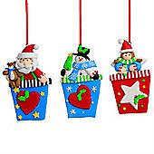 Set of 3 Claydough Christmas Character Tree Decorations - Snowman, Angel & Santa