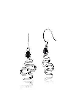 Gemondo 925 Sterling Silver Black Spinel & Marcasite Snake Drop Earrings