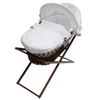 My Little Stars White Waffle Moses Basket in Dark Wicket