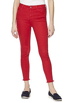 F&F Push-Up Frayed Hem Skinny Ankle Grazer Jeans - Red