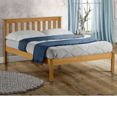 Happy Beds Denver Wood Low Foot End Bed with Open Coil Spring Mattress - Pine - 4ft6 Double