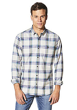 F&F Herringbone Checked Flannel Long Sleeve Shirt - Grey