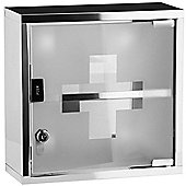 Medicine - Wall Mounted Locking First Aid Storage Cabinet - Silver