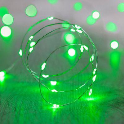20 Micro Green LED Battery Fairy Lights