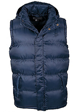 Elgin Mens Padded Hooded Water-Resistant Multi Pockets Sporty Casual Gilet - Blue