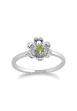 Gemondo Peridot Ring, 925 Sterling Silver 0.13ct Peridot Floral Ring