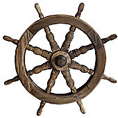 Ships Wheel - Solid Wood Garden Ornament - Burntwood
