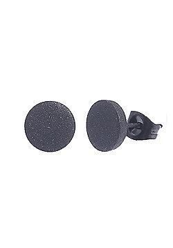 Urban Male Stainless Steel Men's 8mm Matte Black Round Stud Earrings