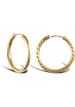 9ct Yellow Gold Hoop Earrings - 24.8mm
