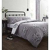Catherine Lansfield Floral Bouquet Grey Duvet Cover Set - Grey