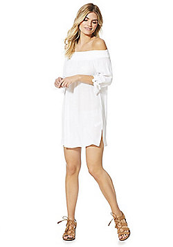 F&F Bardot Beach Dress - White