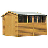 10X6 Overlap Shed with Apex Roof, Double Doors & Safety Glazing By Finewood