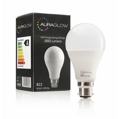AURAGLOW 12w LED B22 Warm White - 75w EQV
