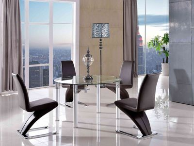 Torino Round Glass And Aluminium Extending 74 - 120 cm Dining Table with 4 Brown Zed Chairs