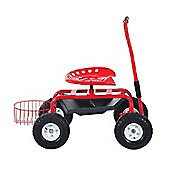 Outsunny Rolling Garden Trolley Basket Red 150kg