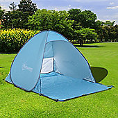 Outsunny 2 Person Pop up Beach Tent Hiking UV Protection Patio Sun Shade Shelter (Blue)