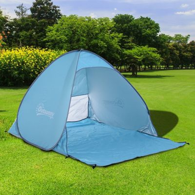 Outsunny 2 Person Pop up Beach Tent Hiking UV Protection Patio Sun Shade Shelter (Blue & 2 Man Tents | Camping Equipment - Tesco