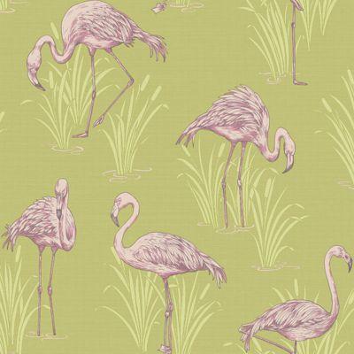 Vintage Lagoon Flamingo Wallpaper Green/Pink - Arthouse 252602