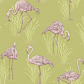 Vintage Lagoon Flamingo Wallpaper Green/Pink - Arthouse 252602