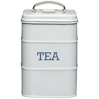 KitchenCraft Living Nostalgia Metal Tea Caddy Tin in French Grey LNTEAGRY