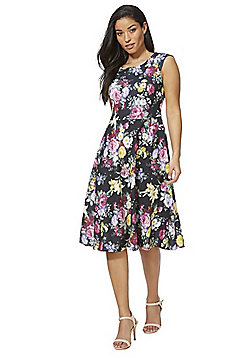 Feverfish Floral Print Flared Dress - Multi