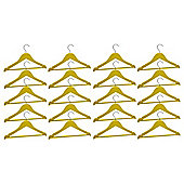 Harbour Housewares Pack of 20 Yellow Childrens Wooden Clothes / Coat Hangers