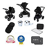 Ickle Bubba Stomp V3 AIO Isofix Travel System + FREE Accessories - Black (Black Chassis)